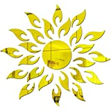 Bikri Kendra BikriKendra Sun With Extra Flame Golden Modle 2 3D Acrylic Mirror Wall Décor Stickers For Home & Office