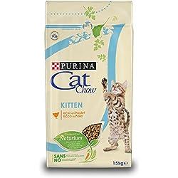 Purina Cat Chow Kitten avec NaturiumTM - Riche en Poulet - 1,5 KG - Croquettes pour Chaton