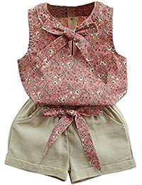 Jipai TM Niñas Estampado Floral Bowknot Chaleco Camiseta + Pantalones Corto Conjunto Ropa