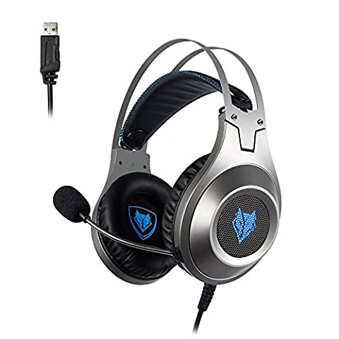Casque Gaming, NUBWO N2 Casque Gaming USB Son Surround avec la mise en muet du micro situé sur la coque du micro, Casque Over-ear pour PC /PS4/ Mac / Ordinateur portable – Argent