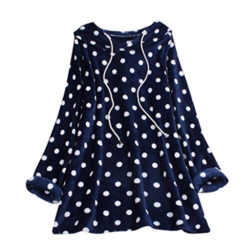 Feinny Herbst Elegantes Temperament Shirt Übergroße Damen Strickjacke mit Kapuze und Punktdruck Oben, 2019 Neu(Marine,XL)