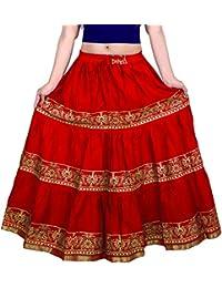 2e593c36b399 VOXVIDHAM Skirt Women's Cotton Fancy Flower Border Design Block Print  (Goldish) Skirts with Elastic