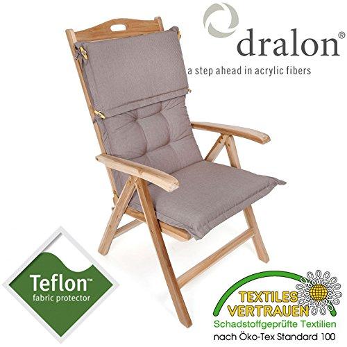 ROG garden-line PL93: dralon® / TeflonTM Premium Auflage FÜR HOCHLEHNER 110 x 50 cm Cappuccino