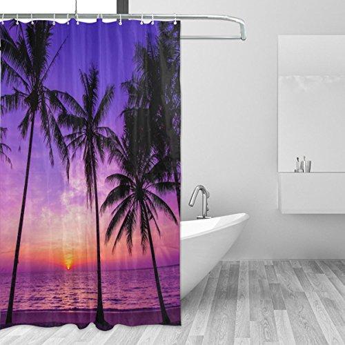 cpyang Palm Tree in Sunset Polyester Stoff Vorhänge Dusche Wasserdicht und Schimmel beständig für Badezimmer Dekoration Mit 12Vorhang Haken 182,9x 182,9cm (Palm-baum-dusche Vorhang Ringe)