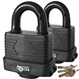 Target TL171 Pack of 2 50mm Waterproof Weatherproof Heavy Duty Padlocks - 3 Keys