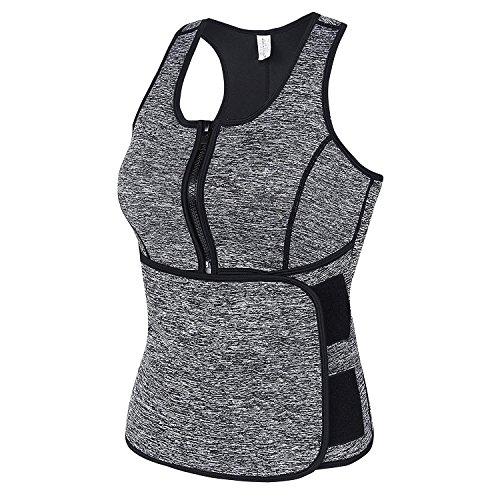 TanQian Fajas Reductoras Adelgazantes Mujer, Camisetas Deporte Mujer de Neoprene - Sudoración para Adelgazar, Reducir Cintura y Abdomen - Corset Reductor Adelgazante Fitness (Gris, 2XL)
