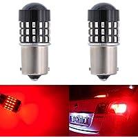 Lote de 2 bombillas LED superbrillantes KATUR 1156 BA15S, 3014 SMD, compatibles con las bombillas tradicionales 7506,1073,1095,1141, de recambio para señal de freno trasero e intermitente, aparcamiento y parada, RV, 3,1W, 12-24 V CC, ámbar