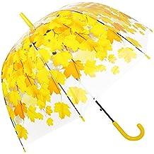 Paraguas transparente automático abierto, Claro flor de cerezo y la hoja de burbuja cúpula forma