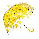 Durchsichtiger Regenschirm von TOSOAR® Transparente Hochzeitsfeier Kuppel-Förmigen Lampenschirm Pilz Umbrella Blase romantische Kirschblüten Maple klar Regen Regenschirm halb-Automatik (Gelb)