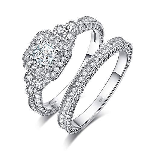 JewelryPalace Princess Cut 1ct Zirkonia Jubiläum Versprechen Ehering Verlobungsring Kanal Bridal Sets 925 Sterling Silber