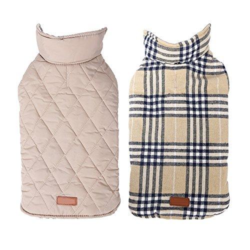 Pet Wintermantel Hundemantel Cozy windundurchlässiges britische Art Plaid Dog Jacke Warm Hundeweste Dressing mit Reflektierende Gürtel Vest von HongYH (Plaid Tasche Anzug Zwei)