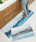Ommda Tappeti Cucina Angolare Lunghi Lavabile Antiscivolo Antimacchia Impermeabile Stampa Digitale Tappeto da Cucina Home Decorato Paesaggio 45x150cm