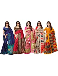 Ishin Combo Of 5 Poly Silk Multicolor Printed Women's Saree