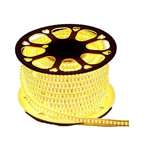 Wasserdicht Zweireihige 220V 2835 IP65 LED Band LED-Stripe 20m LED Streifen Lichterkette1800 LEDs (180 LEDs/Meter) viel heller als normale Lichtband (warmweiß)[Energieklasse A++]