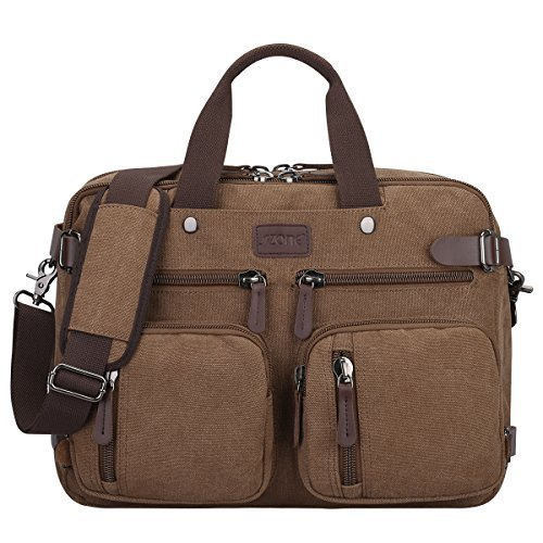 S-Zone 3-Way Convertible Laptop Backpack Messenger Shoulder Bag Hybrid Briefcase Rucksack Fits 15.6 inch Laptop for Men/Women (Convertible Messenger)