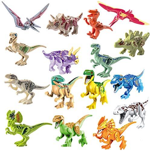 Baustein Spielzeug, 16er Set DIY Puzzles Dinosaurier für Kinder ()