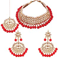 I Jewels Traditional Kundan & Red Pearl Choker Necklace Set For Women (K7075R)