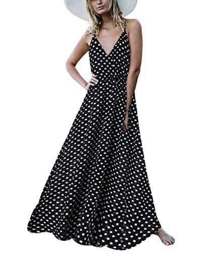 Auxo Damen Ärmellos V-Ausschnitt Dots Kleid Vintage Neckholder Dress Lange Lose Strandkleider 03-schwarz Small Neckholder-kleid