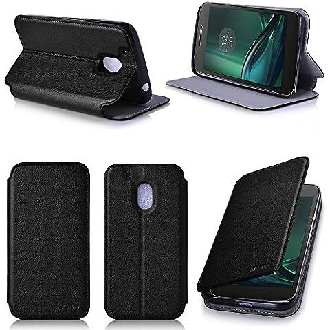 Negro Cuero Funda Folio Carcasa para Lenovo Motorola Moto G 4 PLAY Generación 2016 Dual Sim Piel Case Cover con Soporte - Flip cover caso para Moto G4 PLAY 5 pulgadas (PU Cuero - Accesorios XEPTIO case