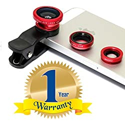 Rextan Universal 3 In 1 Cell Phone Camera Lens Kit -Fish Eye Lens Compatible With IOS and Android Smartphones (One Year Warranty)