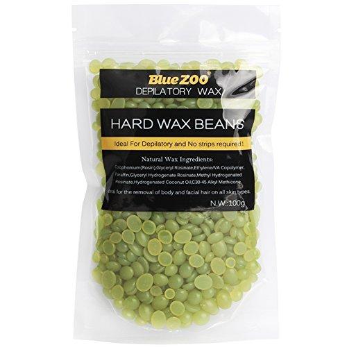 BlueZoo cera depilatoria en perlas depilación cera en perlitas cera caliente Waxing Hair Removal Wax Beans sin tiras 100g (Green Tea)