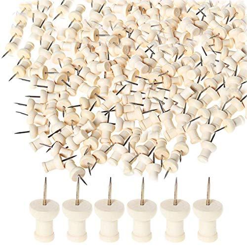 Poualss 100 Stück Holzstifte Holzkopf mit Stahlspitze Holzstifte für Brett, Karte, Fotos, Haus, Handwerk -