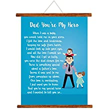 Yaya Cafe Fathers Day Greeting Cards Dad You are My Hero Message Scroll Card for Dad Wall Hanging Decor | Dad Birthday Gifts - 15x20 inches