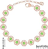 15 Linked Flowers Bracelet Designed by Lucia Costin Crafted in 24K Pink Gold over .925 Sterling Silver Adorned with Light Green Swarovski Crystals and Dots
