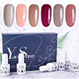 Vernis Gel Semi Permanent - Y&S UV LED Vernis à Ongles Gel Soak Off Manucure Kit, 6 Couleurs X 8ml Chaque Flacon, Lot Populair Nude