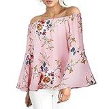 MRULIC Damen Frauen beiläufiges Blumendrucken Weg von der Schulter-T-Shirt Langarm-Oberseiten-Bluse(Rosa,EU-42/CN-L)