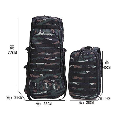 LJ&L 56 + 15L große Kapazität Tarnung Outdoor-Rucksack, taktische abnehmbare Sub-Paket Kombination Outdoor Bergsteigen Tasche, Nylon tragen einstellbare professionelle Outdoor-Klettern Rucksack A