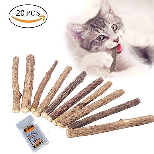 MAIYADUO Gato Catnip Sticks, 100% orgánico natural Matatabi Dental Treats Grinding Grinding Chew juguetes de enriquecimiento de olfativa para gato, paquete de 20 unidades