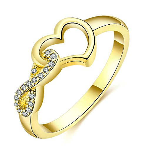 Liebe Muss Pflanzen (Epinki Damen Ringe, Vergoldet Valentine Trauringe Damenringe Cubic Zirkonia Unendlichkeit 8 mit Love Liebe Herz Gold Gr.57 (18.1))
