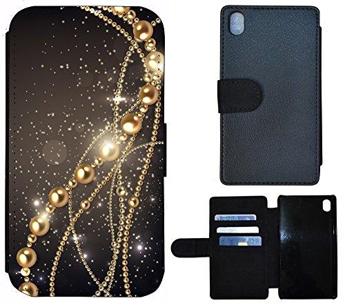 Flip Cover Schutz Hülle Handy Tasche Etui Case für (Apple iPhone 4 / 4s, 1203 Hund Mops Braun Weiß) 1200 Kette Abstract Schwarz Gold