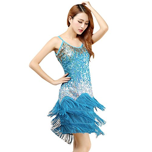 Brightup Frauen Quaste lateinische Tanz Kleid Rock Partei Kleid Sommer Tanz Praxis Kostüm