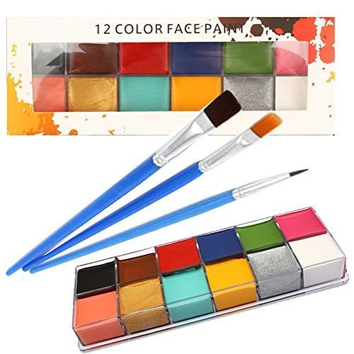 Gesichtsfarbe Kit,12 Waschbare Gesichtsfarben, 3 BüRsten, Safe Facepainting FüR Empfindliche Haut, Facepaints Für Halloween Weihnachten Geburtstag Maskerade