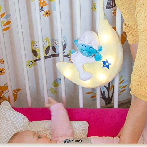 ANSMANN LED-Mondnachtlicht Schlumpf / Niedliche Einschlafhilfe zum Kuscheln mit Schlummerliedfunktion & sanftem Licht für ruhigen Tiefschlaf / Kuschelweiches 2-in-1 Plüschtier für Babys & Kleinkinder - 6