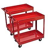 Chariot Werkzeugwagen Belastung 100kg rot (2Stück) und Größe der Reifen: Ø 9,5cm