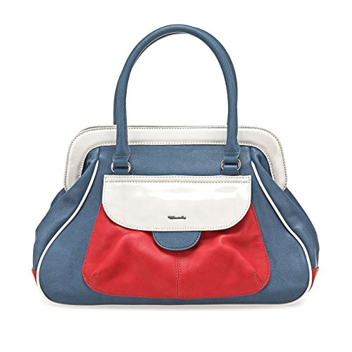 TAMARIS TULIP Damen Handtasche, Big Handbag, ,,Doctor Bag' Format, 3 Farben: candy comb, light blue comb oder rot comb, Farbe:rot (Light Blue Leder-taschen)