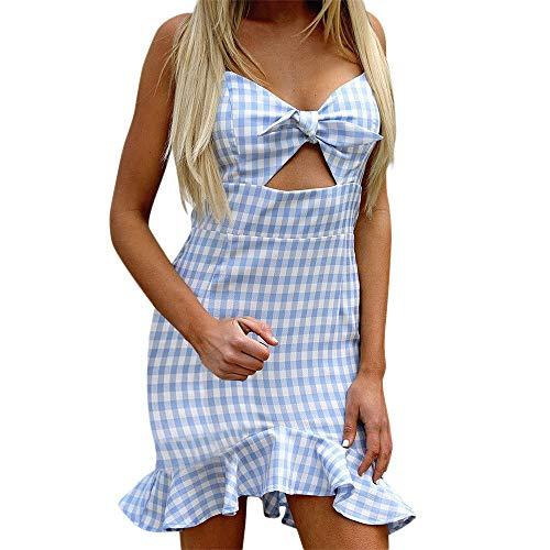 Sling Kleid,Freizeitkleider für Damen,VRTYOC Bogen kariertes Kleid Sommerkleid Rock mit Fischschwanz V-Ausschnitt Kleid mit offenem Rücken Süß Minikleid (Rock Motto Kostüme)