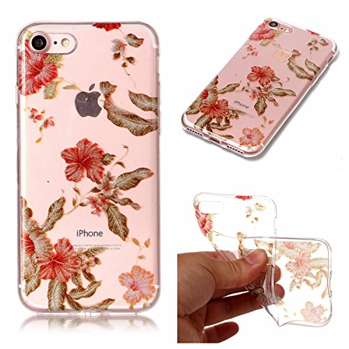 Ecoway iPhone 7/7G (4,7 zoll) Case Cover, TPU Clear Soft Silicone Housse en silicone Housse de protection Housse pour téléphone portable pour iPhone 7/7G (4,7 zoll) - campanule azalée
