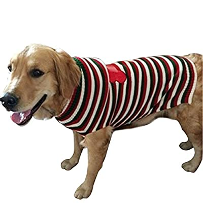 chendongdong Large Dogs Warm Autumn and Winter Striped Sweater Xmas Christmas Gift For Dog