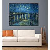 Tallenge Old Masters Collection - Starry Night Over The Rhone By Vincent Van Gogh - Ready To Frame Premium Quality Rolled Digital Art Print On Photographic Paper For Home And Office Décor