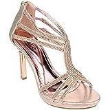 Aarz Boda de fin de curso nupcial Mujeres del partido de tarde de las señoras del alto talón de la sandalia de los zapatos de Diamante Tamaño (Oro, Plata, Champagne)