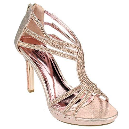 Aarz donne di sera del partito signore promenade di nozze nuziale tacco alto Diamante sandalo Dimensioni (Oro, Argento, Champagne)