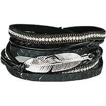 Lederarmband damen zum wickeln mit strass  Suchergebnis auf Amazon.de für: Feder Armband