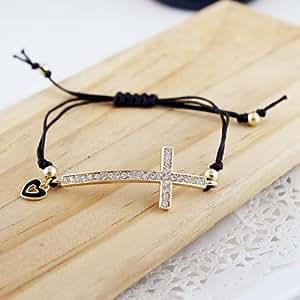 En Gros Arrivée Nouvelle Corde multi-Couleur Bracelet avec Strasse Forme de Cœur et Croix