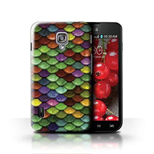 Stuff4® Hülle/Case für LG Optimus L7 II Dual/Mehrfarbiger Pastell Muster/Aquarell Meerjungfrau Skalen Kollektion (L7 Ii Lg Dual Case Optimus)