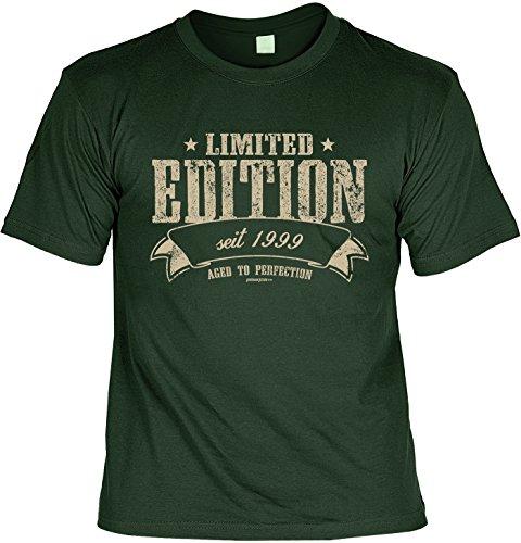 T-Shirt zum Geburtstag: Limited Edition seit 1999 - Aged to perfection - Tolle Geschenkidee - Baujahr 1999 - Farbe: dunkelgrün Dunkelgrün