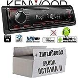 Skoda Octavia 2 1Z 1-DIN Nexus Columbus etc. - Autoradio Radio Kenwood KMM-204 - MP3 | USB | iPhone - Android - Einbauzubehör - Einbauset